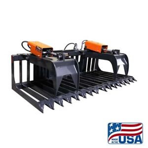 66 Inch Grapple Attachment dual rock root skid Steer universal bobcat kubota etc
