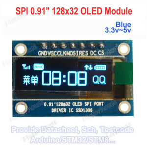 0 91 Blue Spi Serial 128x32 Oled Lcd Display Module Screen For Arduino 3 3v 5v