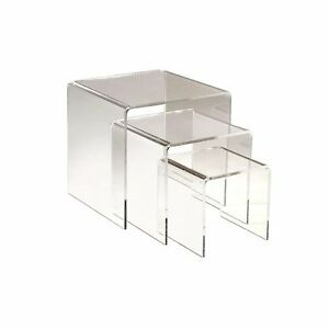 3pc Clear Acrylic Riser Set Of 3 Displays 3 4 5 Retail Jewelry Display Stands