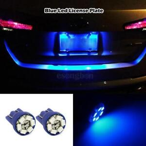 2x Blue Led License Plate Lights 6 Smd Bulb Wedge 168 T10 2825 194 W5w