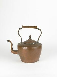 Antique Copper Kettle Teapot Tea Unknown Mark As Is Metalware Early Primitive