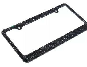 Bling Bling 7 Rows Black Diamond Crystal License Plate Frame Free Cap
