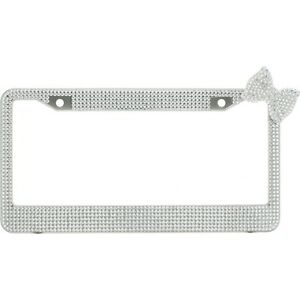 Clear 7 Rows Bling Diamond Crystal License Plate Frame With Corner Clear Bow Tie