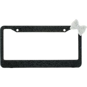 Black 7 Rows Bling Diamond Crystal License Plate Frame With Corner Clear Bow Tie