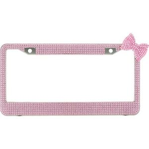 Pink 7 Rows Bling Diamond Crystal License Plate Frame With Corner Pink Bow Tie