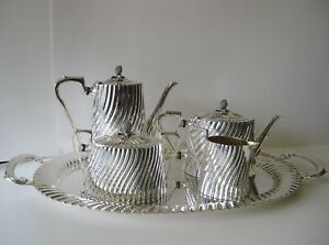 925 Sterling Silver 5 Piece Handcrafted Rare Fluted Tea Set Tray 25678 25246