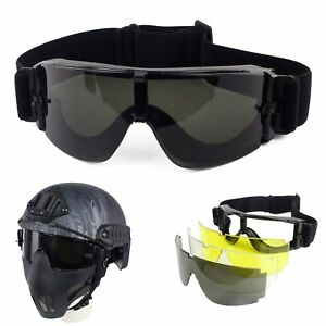 3 Lens Airsoft Tactical UV-400 Protection Goggles Helmet Eye Wear Safety Glasses