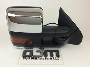 Chevrolet Gmc Rh Passenger Side View Mirror Trailer Tow Chrome Power Fold Oem