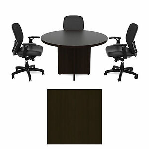 Cherryman 42 Inch Round Conference Table Amber Black Cherry Laminate