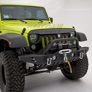 Rock Crawler Front Bumper W Skid Guard fog Light Hole Fit 07 18 Jeep Wrangler