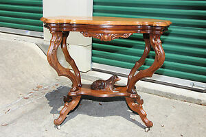 Fabulous Solid Walnut Victorian Rococo Turtle Shaped Dog Table Ca 1870