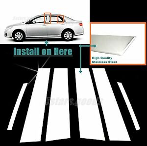 Stainless Steel Chrome Door Pillar Post Trims For Toyota Corolla Sedan 2009 2013
