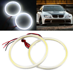 1pair White 80mm Cob Led Angel Eyes Headlight Halo Ring Warning Lamps With Cover