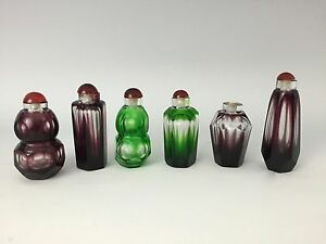 6 Antique Chinese Peking Glass Faceted Snuff Bottles Green Purple
