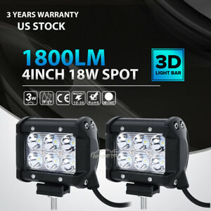 2pc 4inch 18w Cree Led Work Light Bar 4wd Offroad Spot Fog Atv Suv Driving Lamp