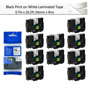 10pk Black On White Label Tape For Brother P touch Pt 2730 Tz Tze 241 0 7 18mm
