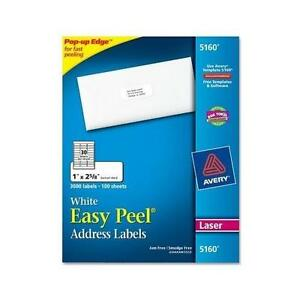 Avery Labels White Easy Peel Address Labels For Laser Printers 1 x 2 5 8 5160