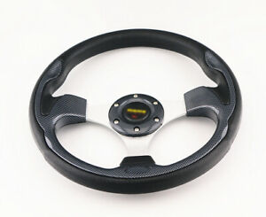 320mm Black Pvc Leather Carbon Fiber Look Racing Steering Wheel 6 Bolt W Horn