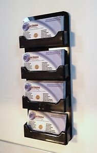 4 Pocket Horizontal Wall Mount Business Card Holder All Black Display