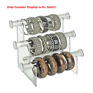 New Clear Acrylic Three tier Bracelet Counter Display 11 75 w X 6 5 d X 9 25 h