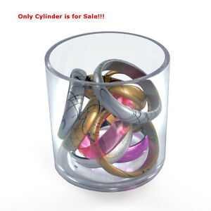 Case Of 4 New Clear Styrene Crystal Deluxe Cylinder 5 h X 5 d