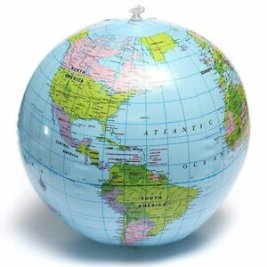 38cm Inflatable World Globe Earth Teaching Geography Map Beach Ball Kids Toy
