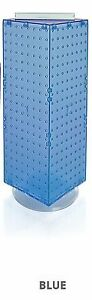 New Retails Blue 4 sided Revolving Pegboard Counter Display 8 w X 20 h