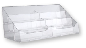 6 Pocket Clear Acrylic Counter Top Business Card Display Holder Stand