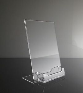 25 5 X 7 Acrylic Sign Display Picture Frame With Business Card Holder