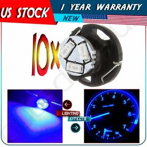 10 X Instrument Cluster A C Climate Light Blue T5 T4 7 Neo Wedge 3 Smd Led Bulbs