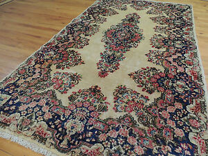 Lovely Antique Persian Kerman 4x7 4x6 Oriental Area Rug Rose Blue Gray