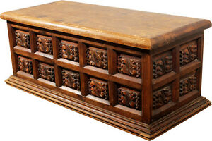 Vintage Rustic Handcarved Pine Frame And Panel Chest