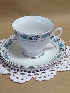 Vintage Tea Cup And Saucer Cup And Saucer With Turquoise Flowers