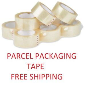6 Clear Big Strong Parcel Tape Packing Sellotape Packaging Rolls 50mm X 66m