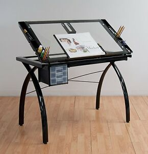 Drafting Table Drawing Art Craft Station Glass Metal Hobby Desk Adjustable Room