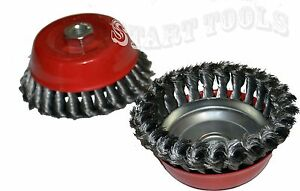 5 X 5 8 Knot type Fine Wire Cup Brush Fits 4 1 2 Angle Grinder