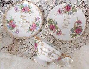 Vintage Porcelain Footed Tea Cup Saucers Proverb Wisdom Saying Flowers Gold