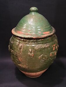 Chinese Antique Yuan Dynasty Green Glazed Pottery Jar