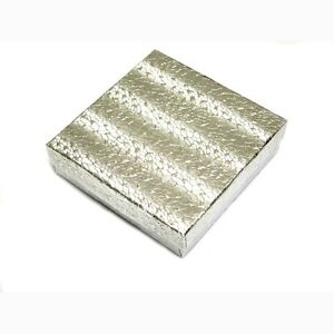 100 Silver Cotton Filled Jewelry Gift Boxes 3 1 2 X 3 1 2 X 1