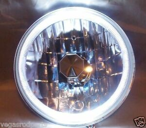 7 Clear Headlight With White Halo Blue Turn Signal Headlights H4 55w