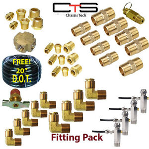 40pc 3 8 Air Bag Suspension Fittings Kit Free 20 3 8 D O T Airline Hose