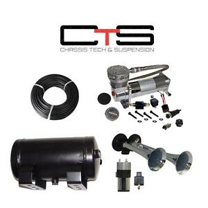 Dual Train Horn Kit Air Horns Car Truck 150 Psi Air System Tank