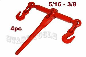 4 Pc 5 16 3 8 Heavy Duty Ratcheting Load Binder Boomer Chain Equipment Tiedown
