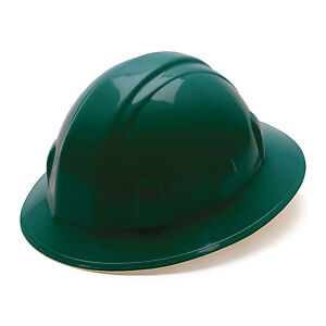 Pyramex Hard Hat Green Full Brim With 4 Point Ratchet Suspension Hp24135