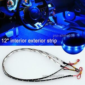 12 Blue 12smd Led Interior Exterior Strip Footwell Dash Ambient Light Fit Chevy