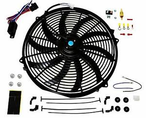 16 Electric Curved Blade Reversible Cooling Fan 12v 3000cfm Thermostat Kit