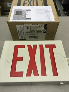 New Lithonia Lighting 283161 White Steel Emergency Led Exit Sign Red Letters