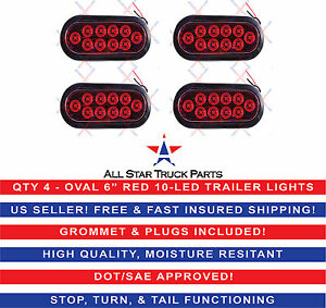 4 Red 6 Oval Led 10 Diode Tail Light W grommet Plug pigtail Truck Trailer
