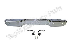 For 2013 16 Frontier Rear Step Bumper Face Bar Chrome License Lamp W sensor Hole
