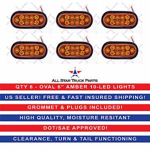 6 Amber 6 Oval Led 10 Turn Signal Tail Light W grommet Plug Truck Trailer